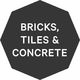 Bricks, concrete and tiles